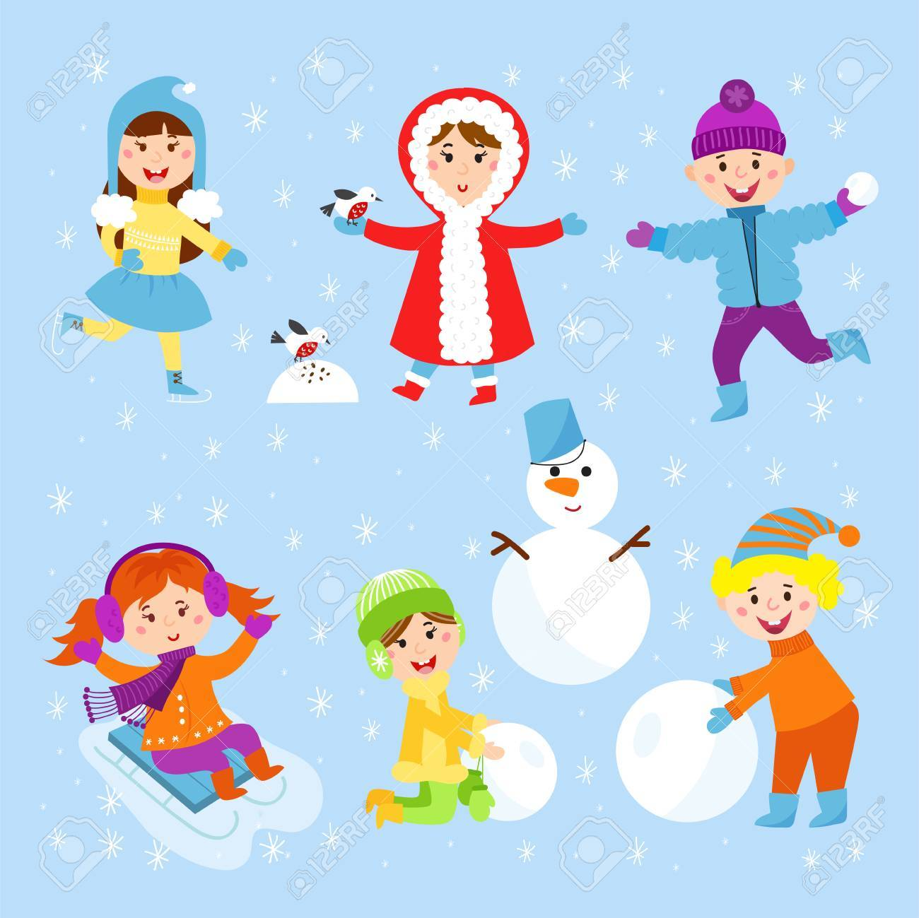 christmas kids playing winter games children playing snowballs cartoon new year holidays vector characters illustration