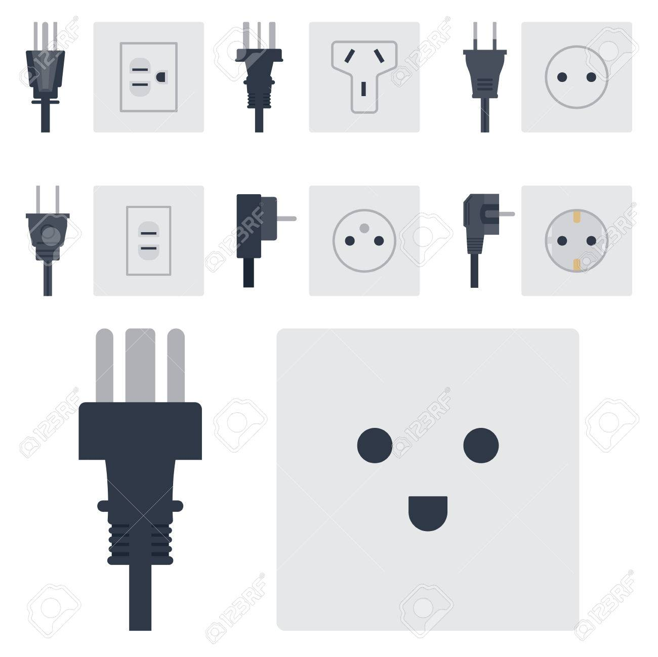 Electric Outlet Vector Illustration Energy Socket Electrical ...