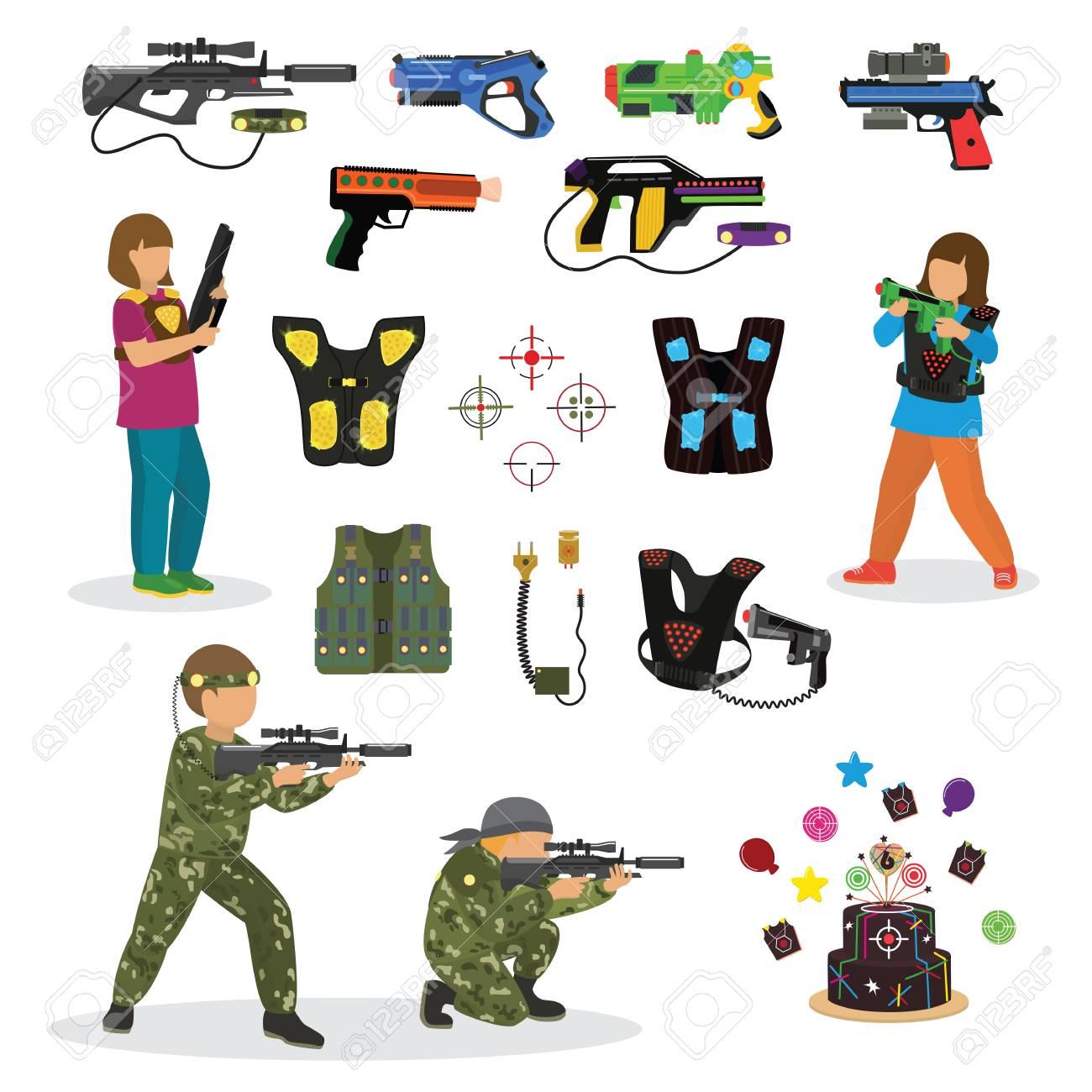 laser tag fun game vector set in flat style gun optical tools rh 123rf com Water Balloon Clip Art Go Cart Clip Art