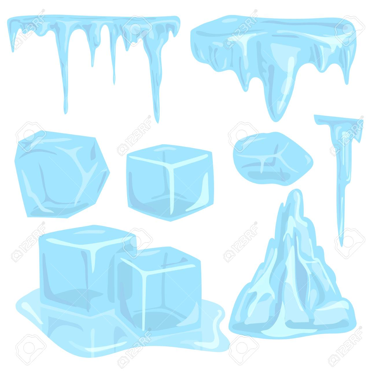 Ice caps snowdrifts icicles elements arctic snowy cold water winter decor vector illustration. - 87380212