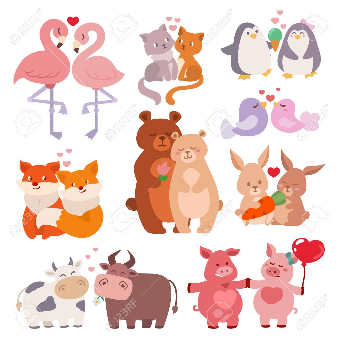 Pares Lindos De Los Animales En Colección Del Amor Personajes De