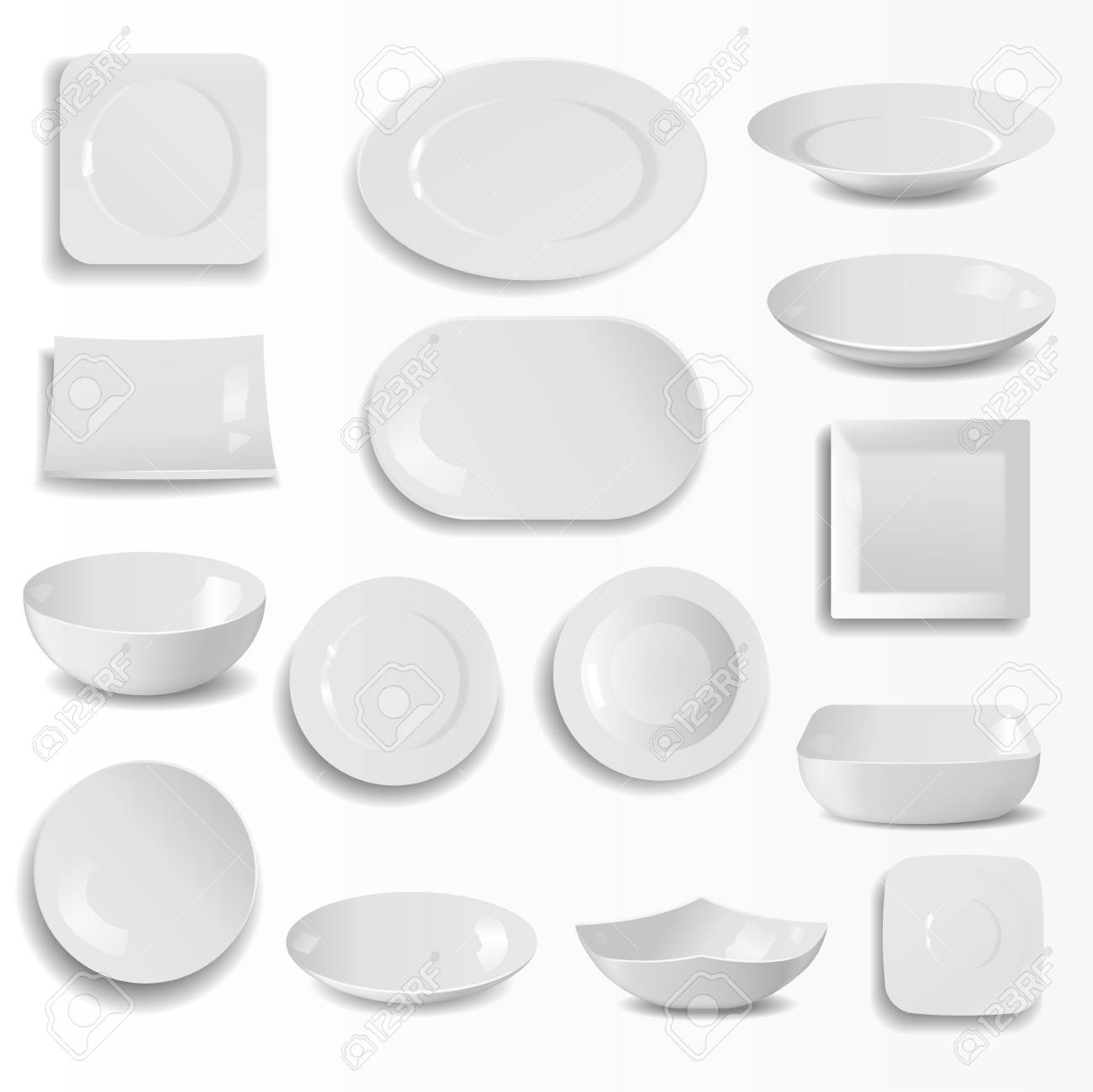 A Blank Ceramic Plates Set Realistic Kitchen Dishes Template ...