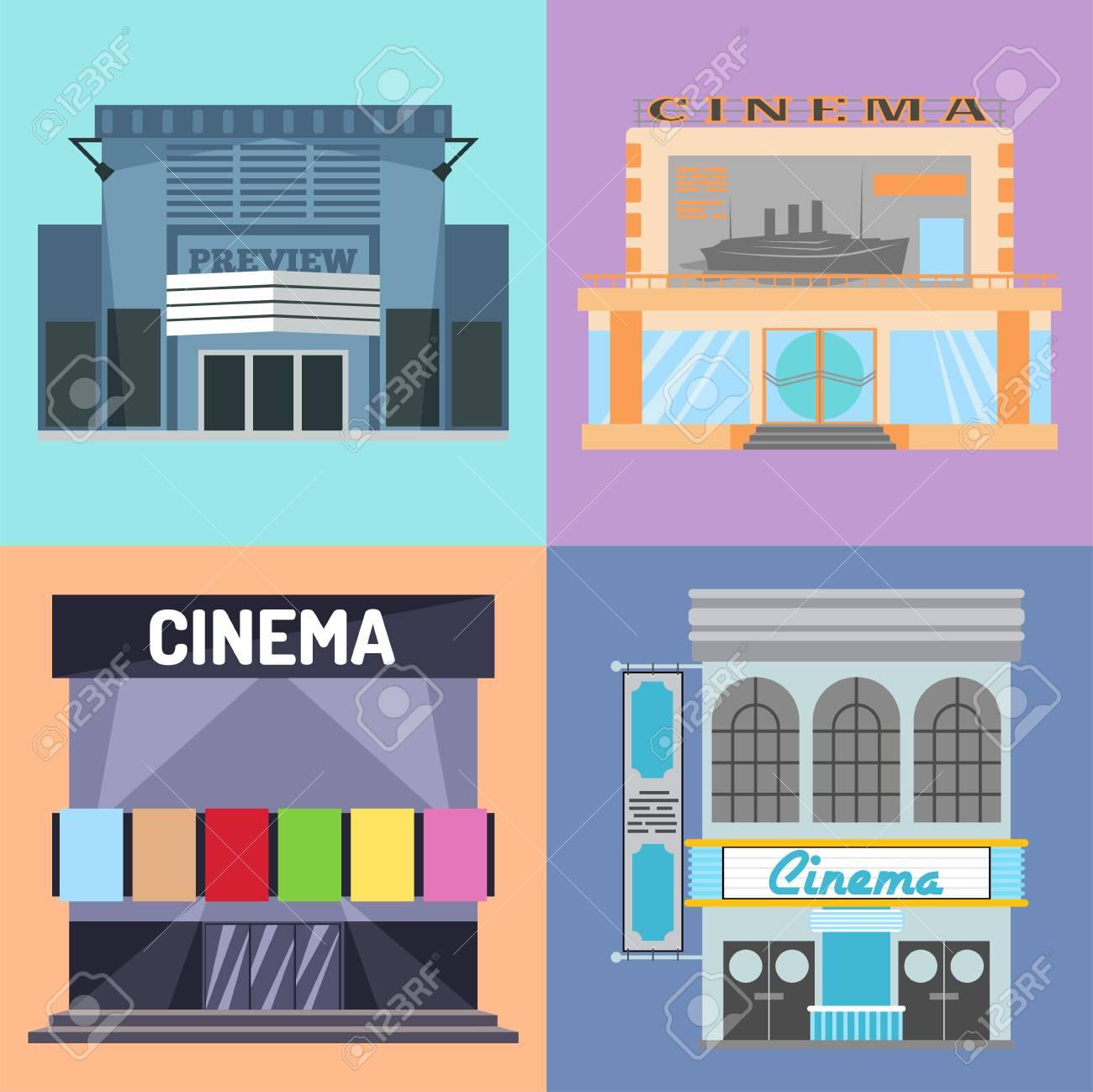 Kino Gebäude Vektor Illustration Fassade Film Unterhaltung Stadt ...