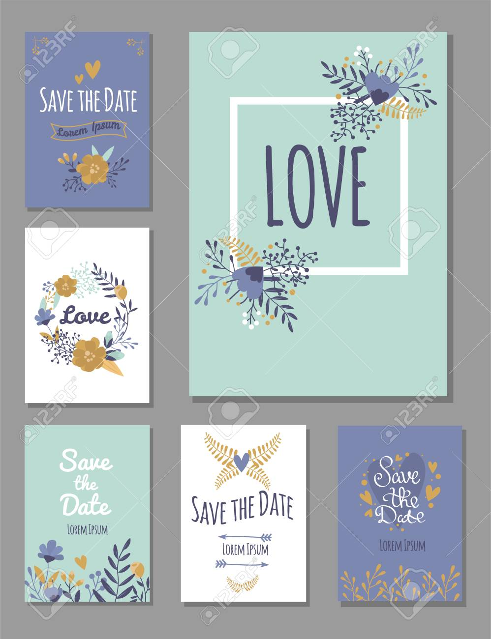 Wedding Invitation Card Suite With Flower Templates Day Handmade ...