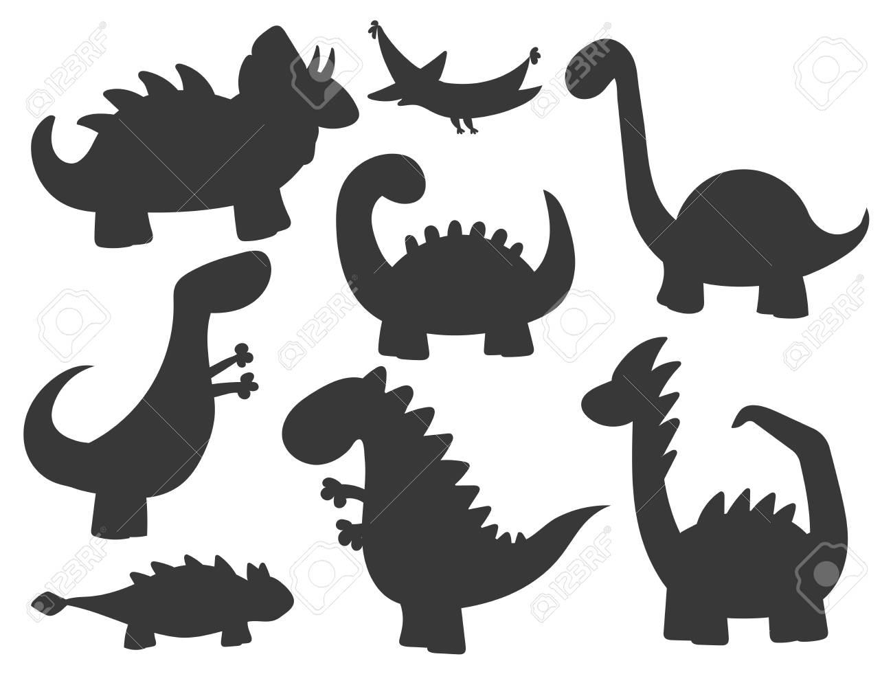Cartoon dinosaurs vector illustration monster silhouette animal dino prehistoric character reptile predator jurassic fantasy dragon - 87921094