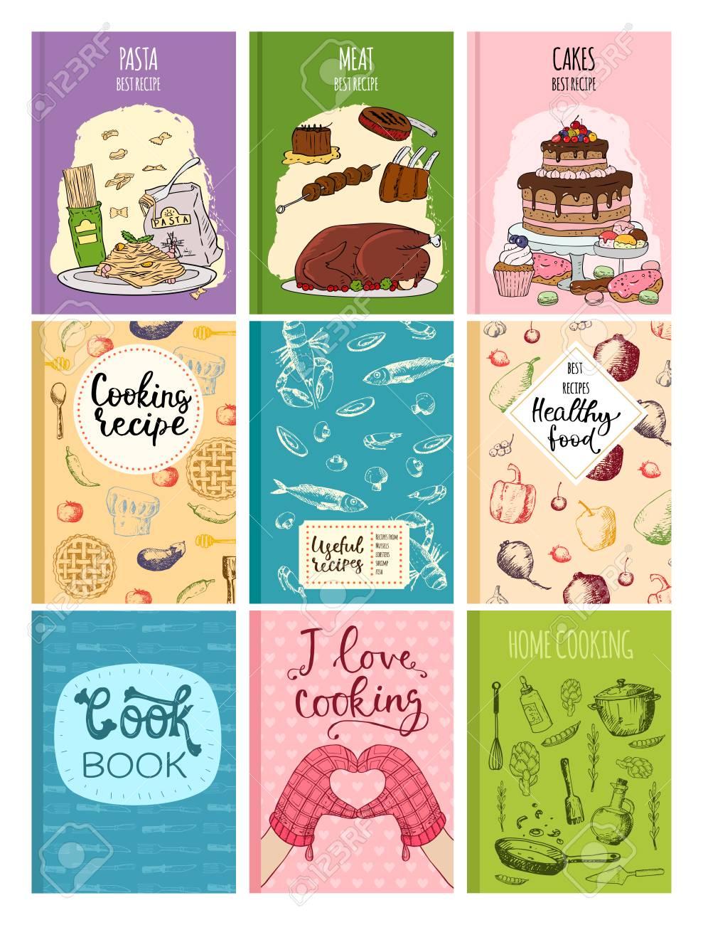 Cocinar recetas de cocina de la cocina de diseño de la plantilla de la mano  de la cocina de la mano de la plantilla de notas de vectores dibujado a ...