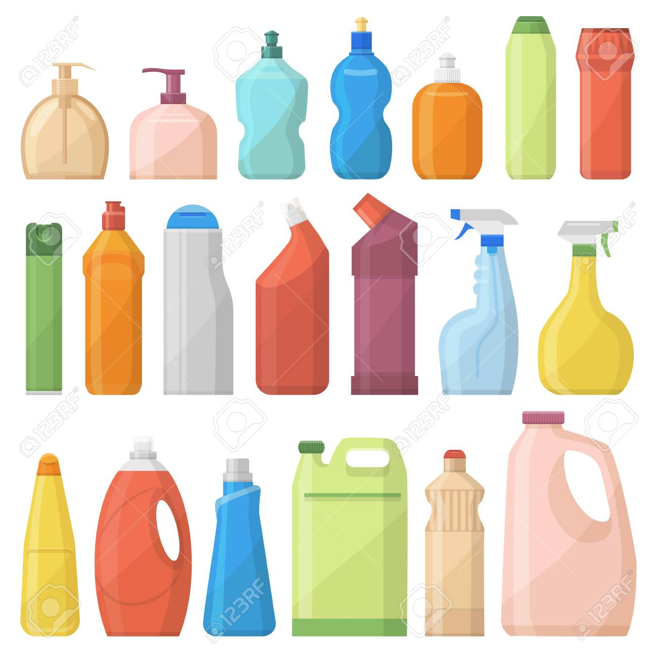 Household chemicals bottles pack cleaning housework liquid domestic fluid cleaner template vector illustration. - 87963404