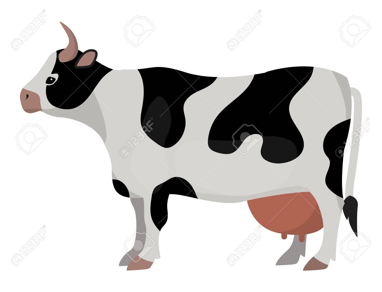 Vache Ferme Animaux Dessin Animé Drôle Vector Illustration Bovins