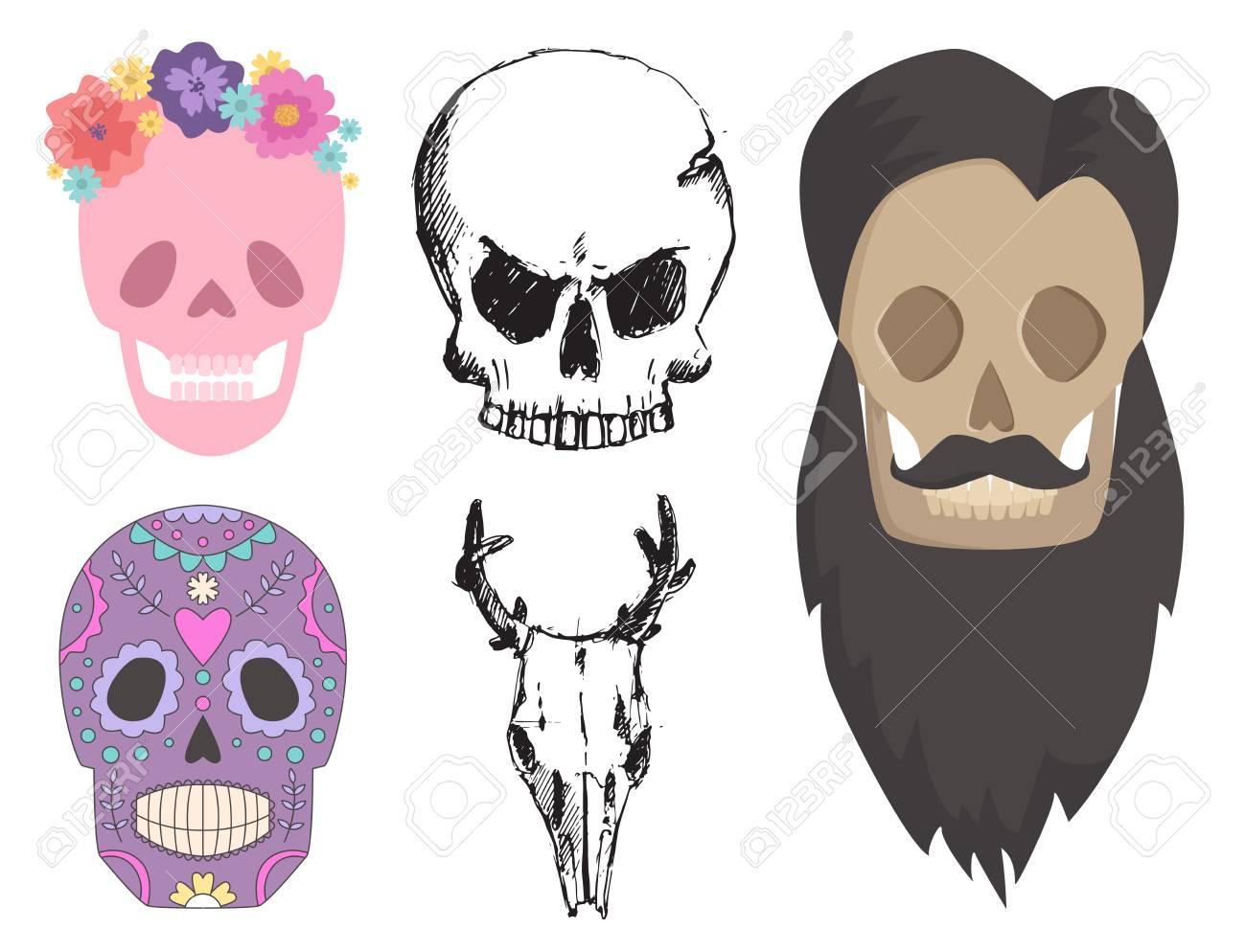 Verschiedene Stil Schädel Gesichter Vektor-Illustration Halloween ...