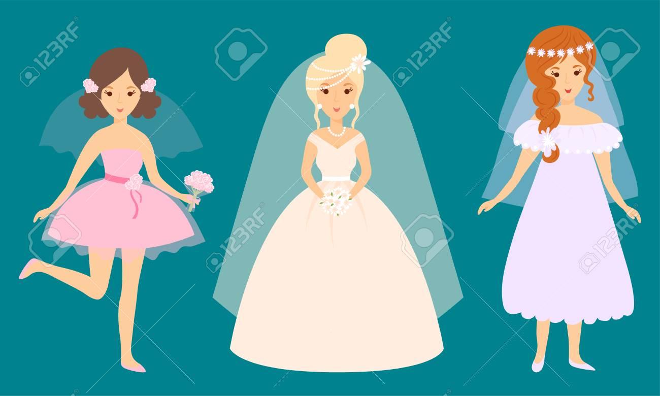 Mariage Brides Caracteres Vector Illustration Celebration Mariage