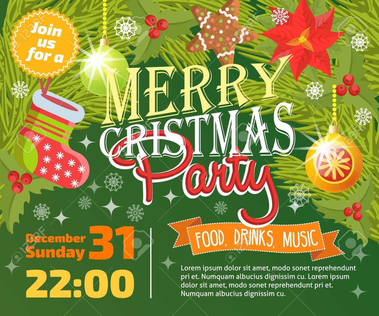 Invitación De La Fiesta De Navidad Vector Plantilla De Diseño De Fondo De La Tarjeta Para Noel Celebración De La Fiesta De Navidad Clipart Año Nuevo