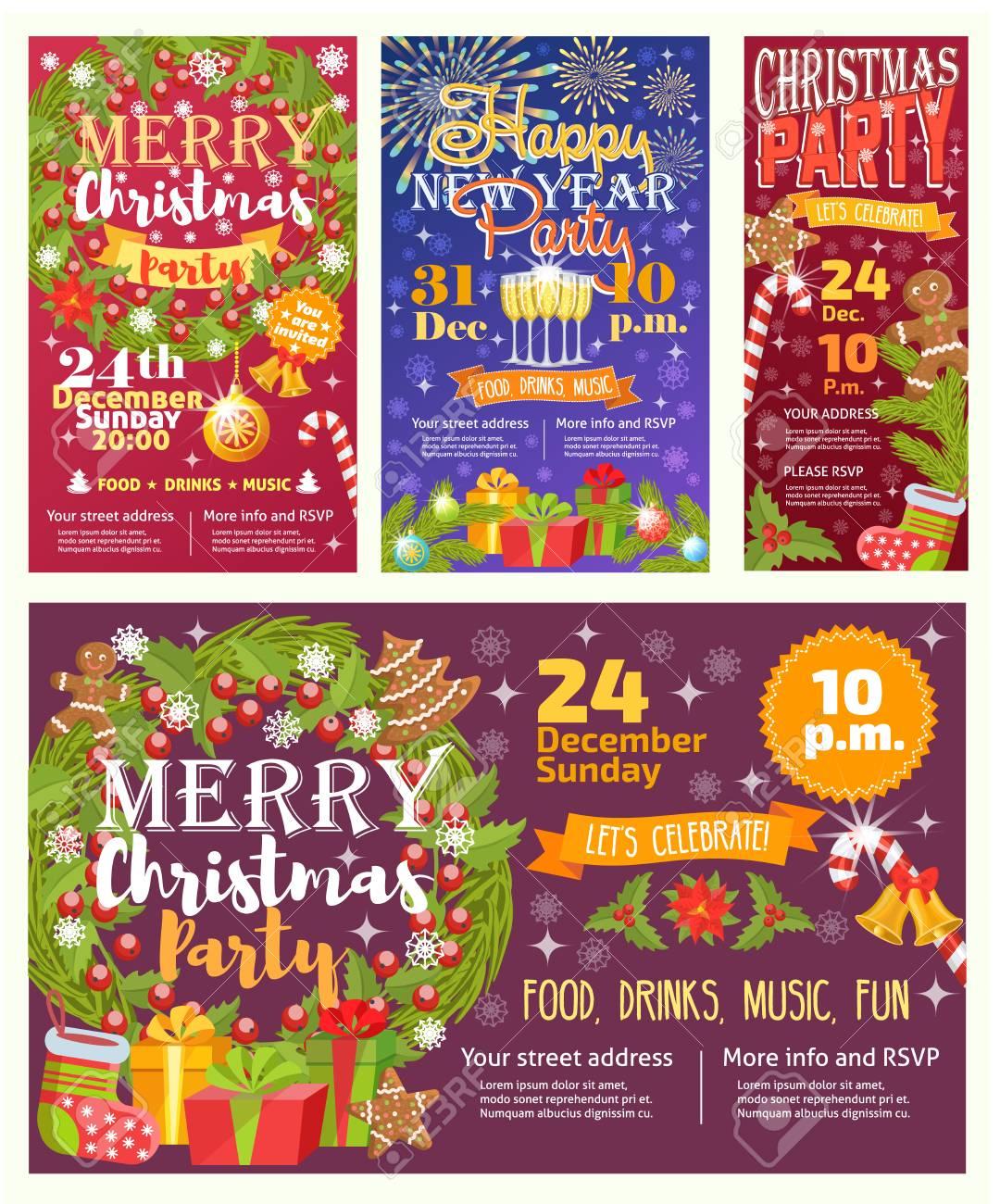 Plantilla De Diseño De Fondo De Tarjeta De Invitación De Invitación De Navidad De Vector Para Navidad Fiesta De Fiesta De Año Nuevo 2017 Pegatinas De