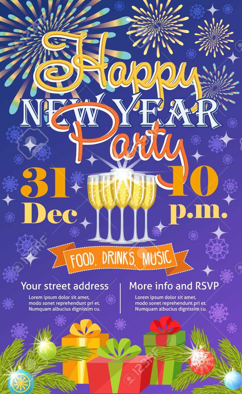 new year party invitation vector card background design template for noel holiday celebration clip art