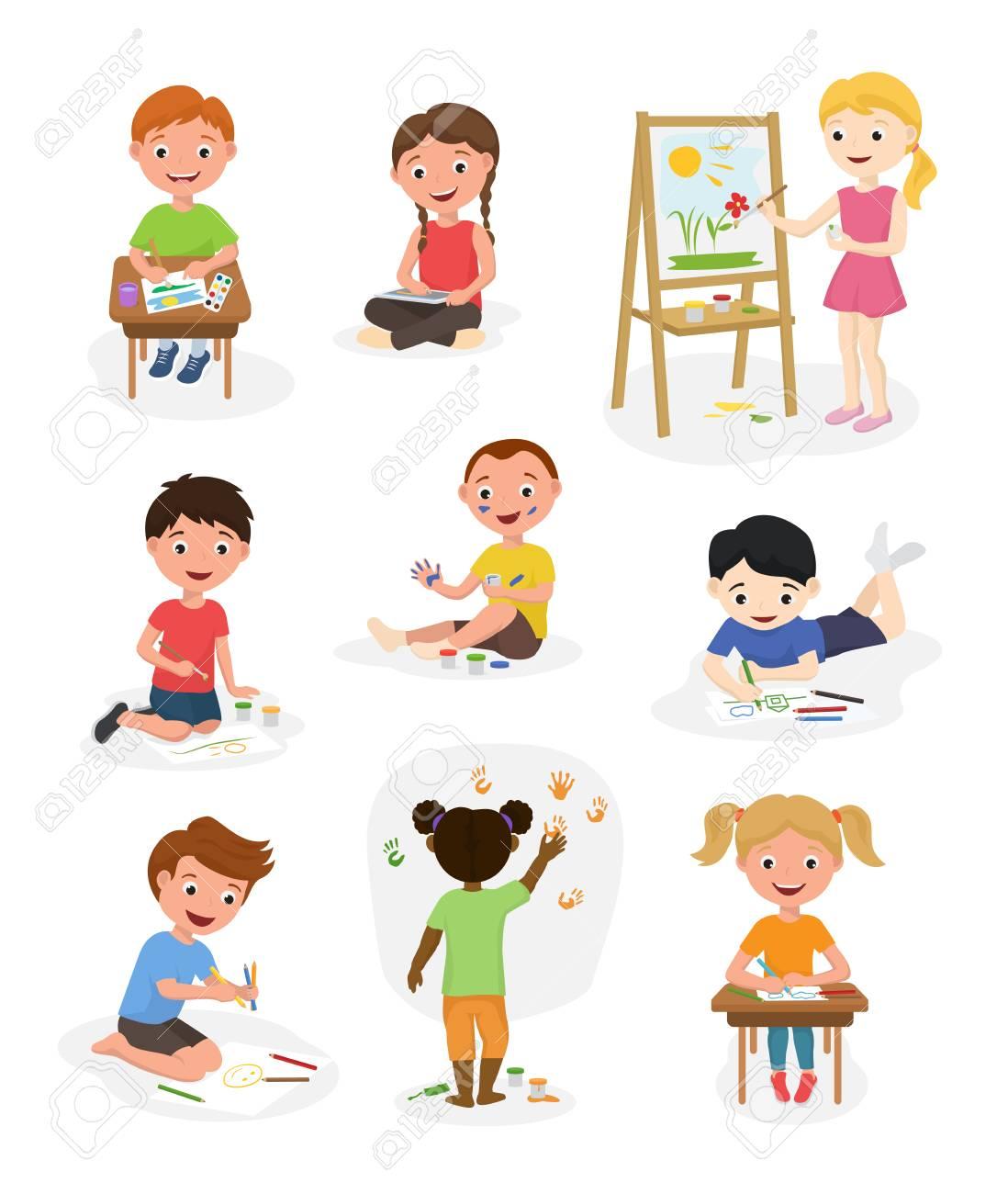 Artist cute kids vector paint art child creative drawing artwork painter kid boys and girls art