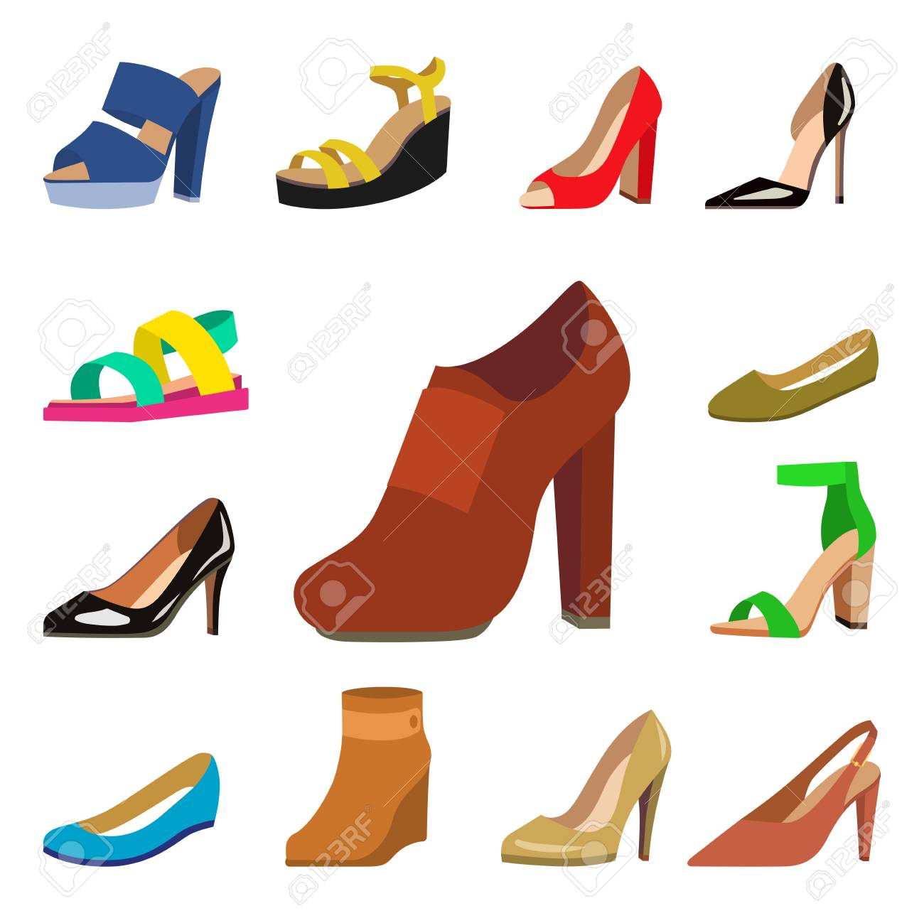 f206264c11 Foto de archivo - Los zapatos para mujer vector la colección plana del  diseño de la moda de mocasines coloreados cuero calza el ejemplo de las  sandalias.