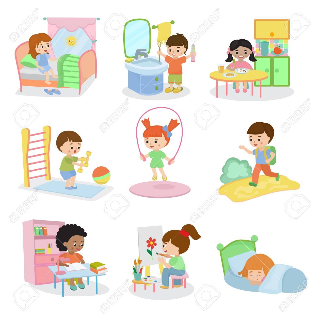 Kids Everyday Activities Set Children Daily Activity Routine Stock