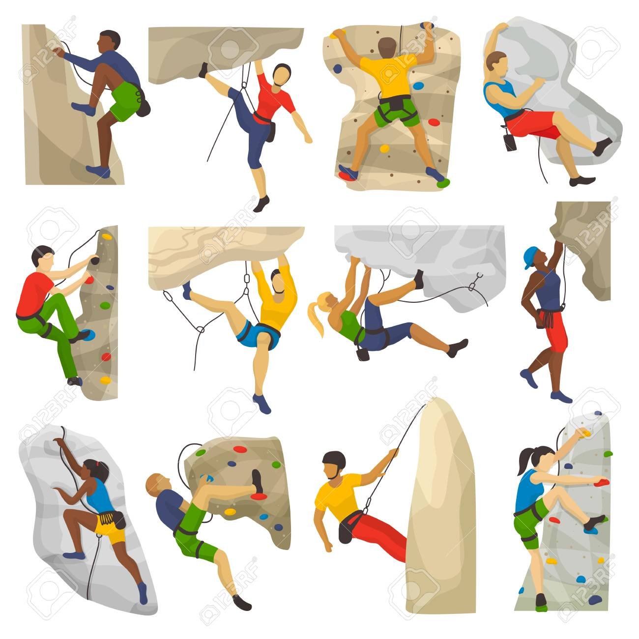 Mountain climbing vector climber climbs rock wall or mountainous cliff and people in extreme sport mountaineer character mounts set illustration of mountaineering isolated on white background - 93923343