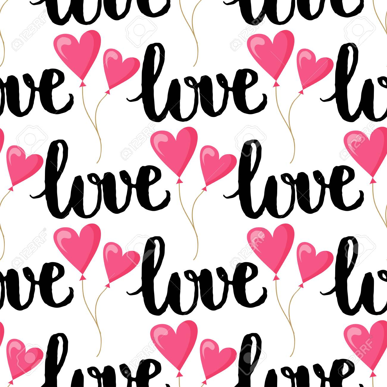 I Love You Text Heart Sharp Vector Seamless Pattern Background