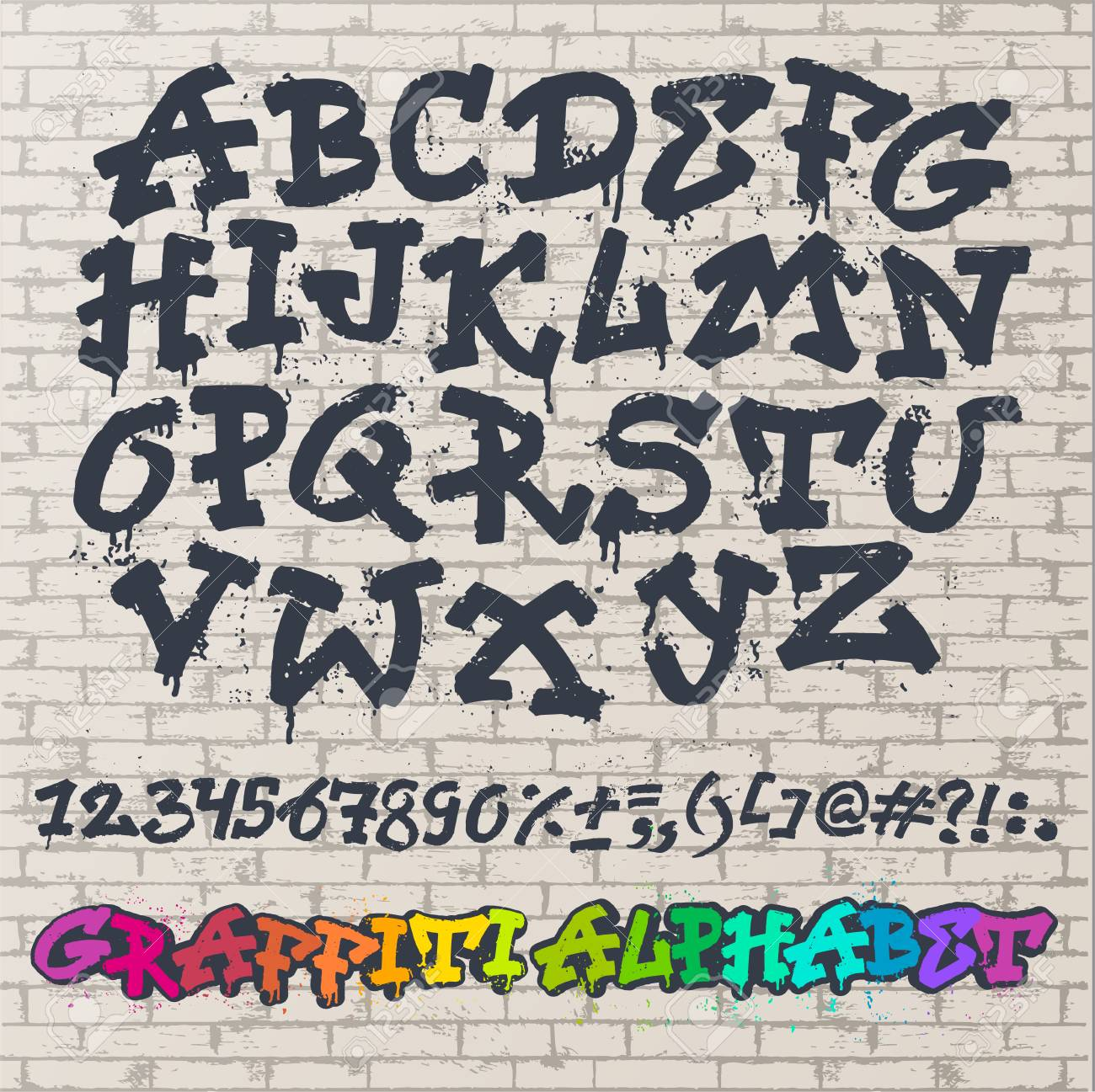 Alphabet graffiti font in brush stroke typography illustration isolated on brick wall background - 95279051