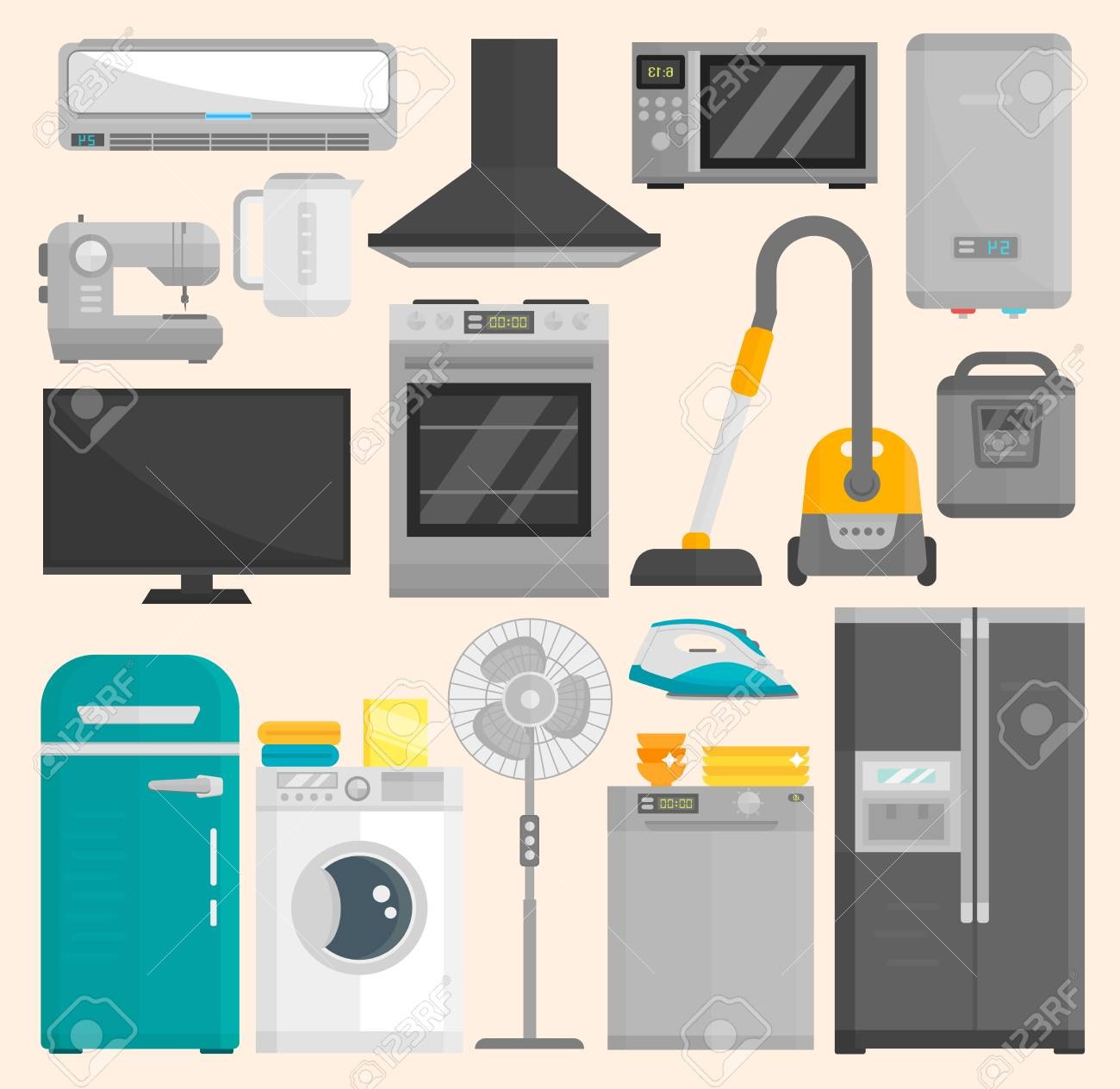 Group of home appliances isolated on white background. Kitchen equipment refrigerator home appliance domestic oven washing microwave electric home appliance cooking freezer tool - 95925462