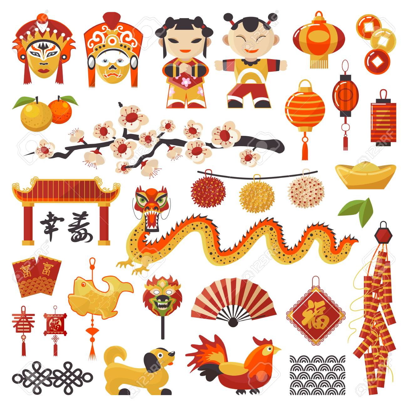 China New Year vector icons set decorative holiday. Chinese traditional symbols and objects dragon, dog, lighter and east tea, famous oriental culture chinese New Year celebration illustration. - 96000730