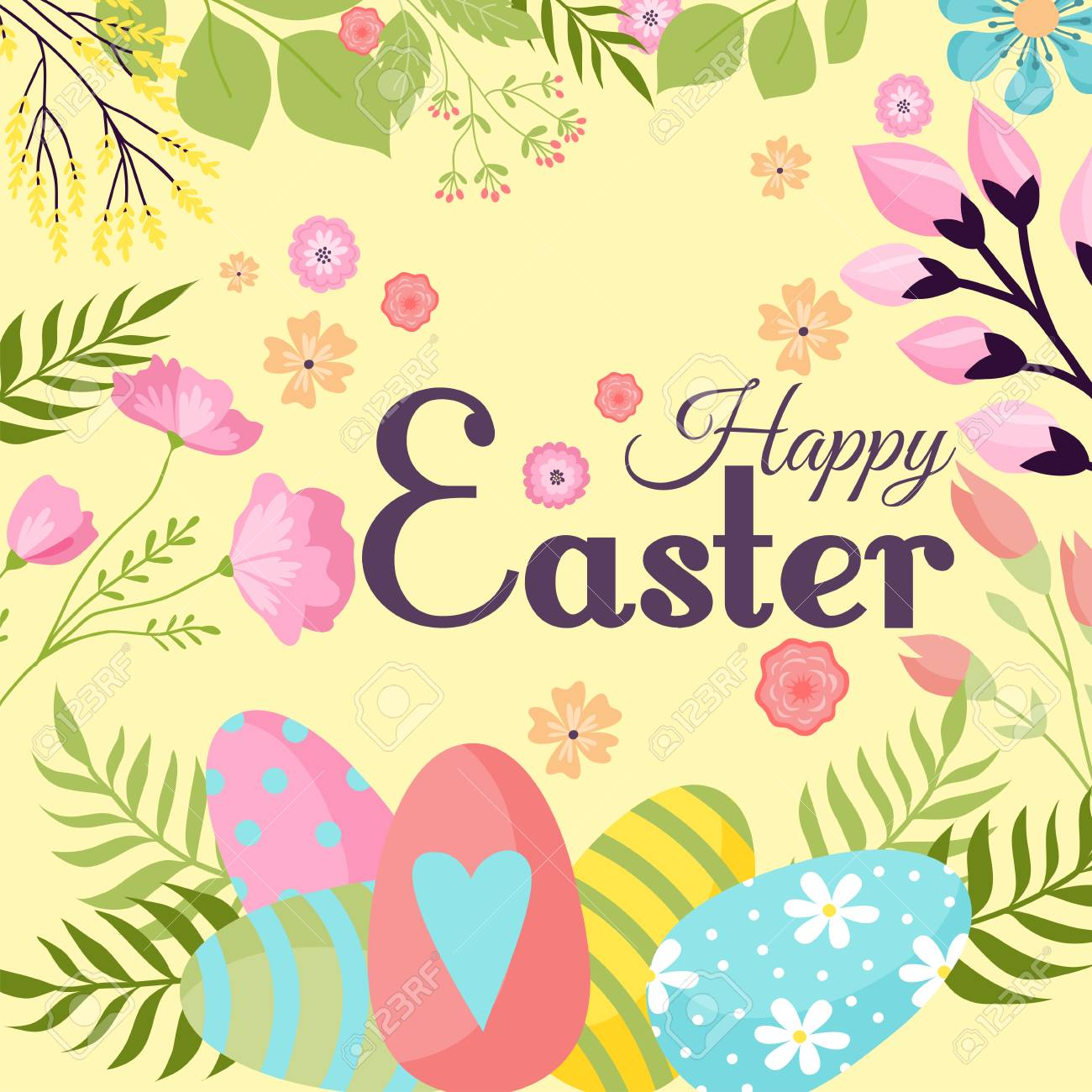Easter Background Design Vector Holiday Celebration Party Wallpaper