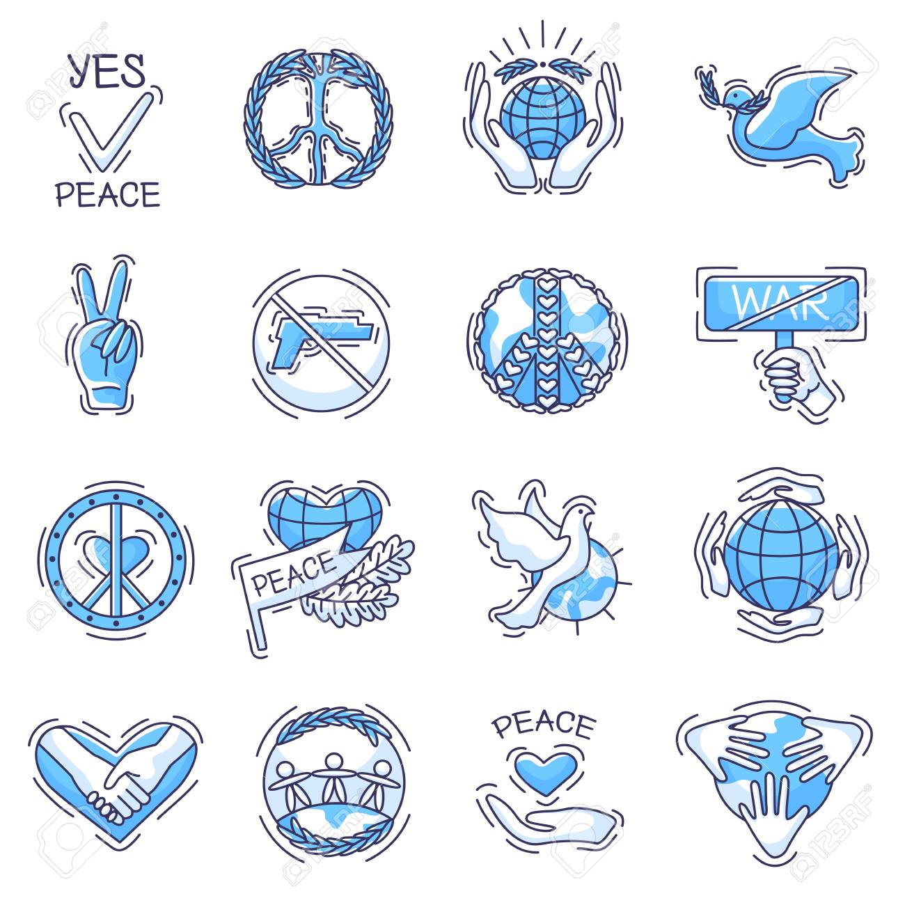 Peace vector peaceful symbol of love and peacefulness or peacekeeping..