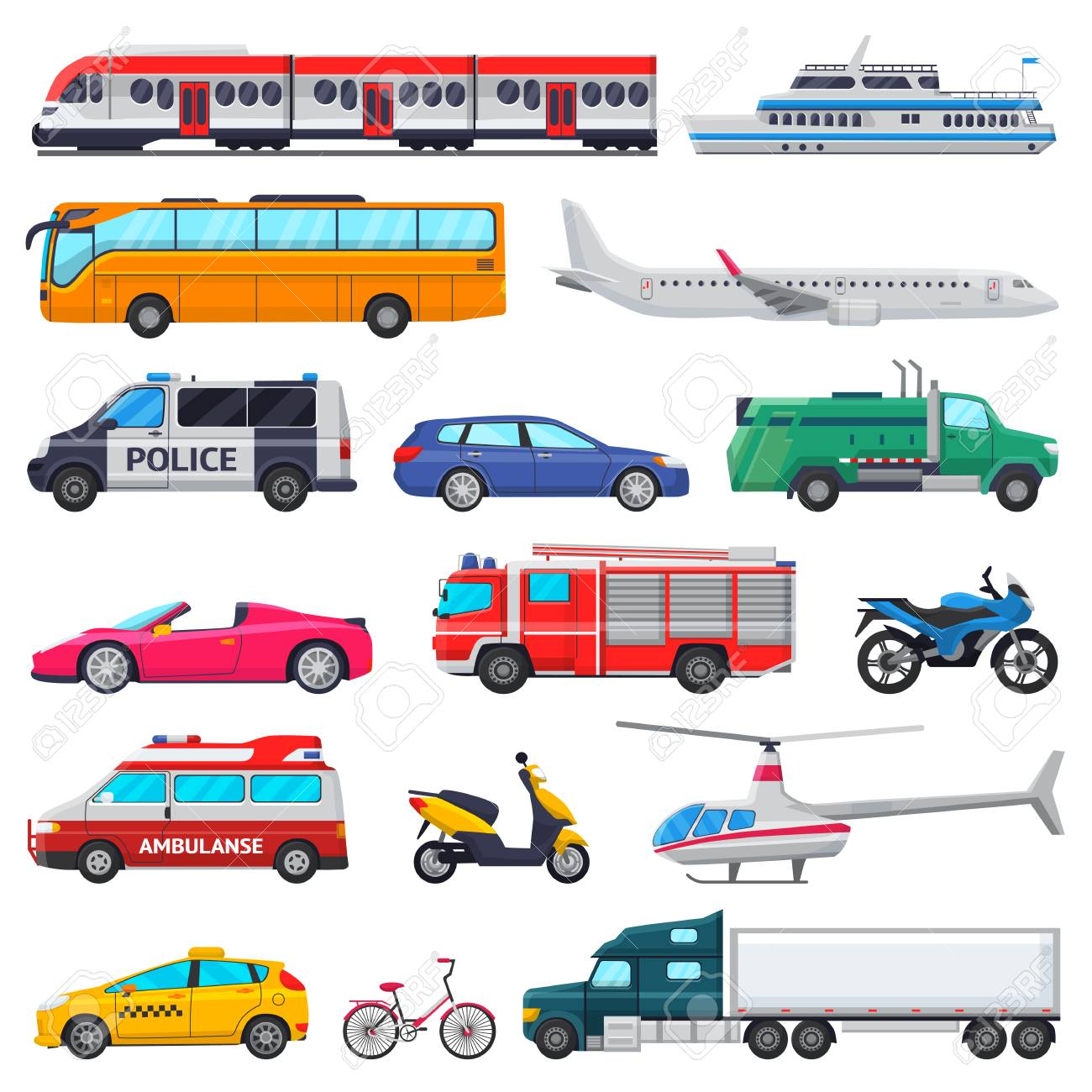 Transport vector public transportable vehicle plane or train and car or bicycle for transportation in city illustration set of ambulance fire-engine and police car isolated on white background - 97426184