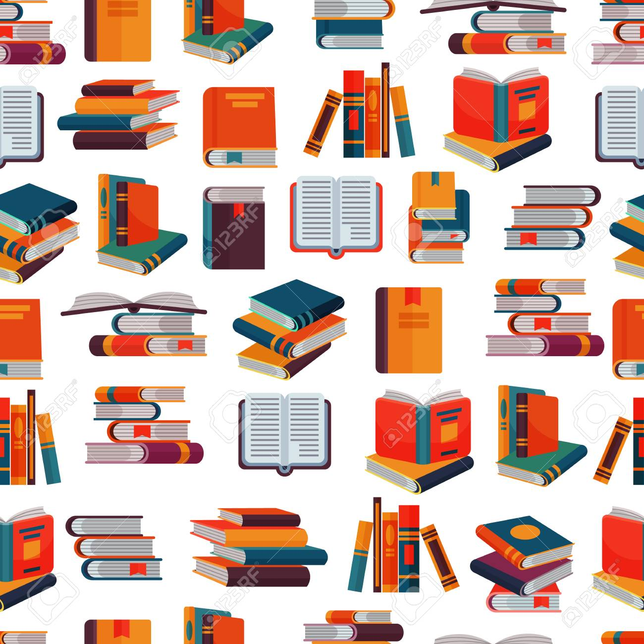 Books vector stack of textbooks and notebooks on bookshelves reading literature in library or bookstore bookish cover illustration set isolated seamless pattern background - 97403095