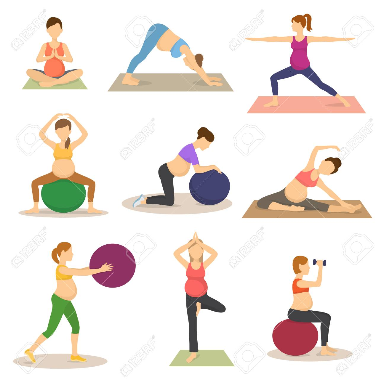 Fitness routine for pregnant woman vector illustration - 97445307