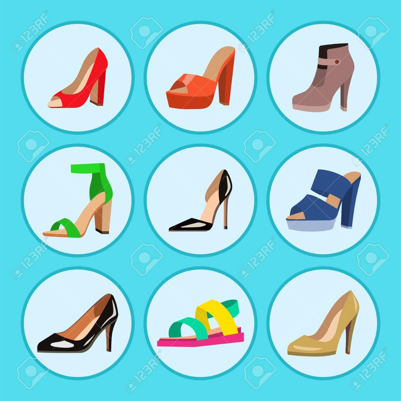 Zapatos de mujer vector colección de diseño de moda plana de cuero color mocasines zapatos sandalias ilustración