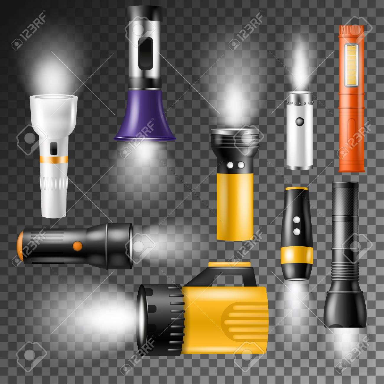 Flashlight vector lighting with spotlight or flash illustration set - 97554650