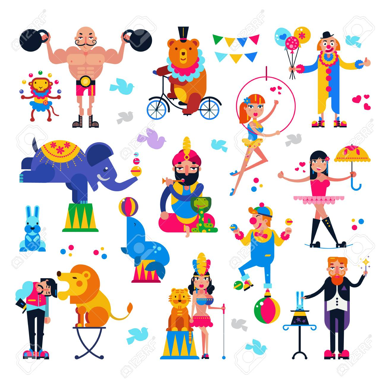 circus people vector acrobat or clown and trained animals characters