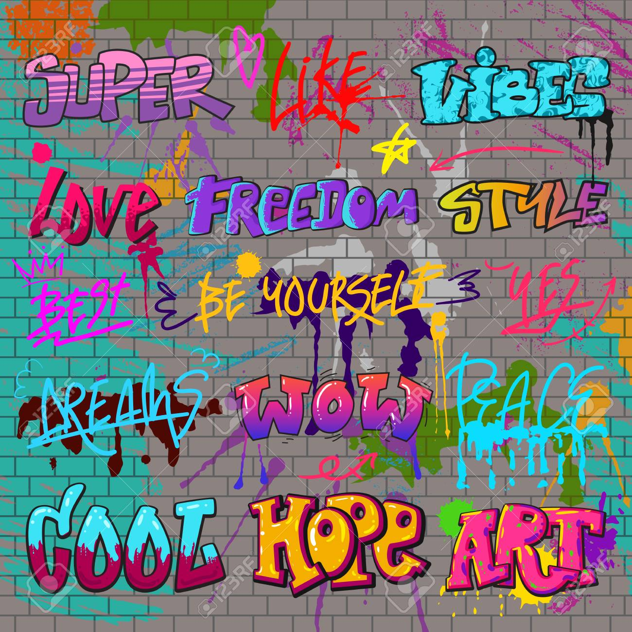 Graffiti vector graffito of brushstroke lettering or graphic grunge typography illustration set of street text with love freedom. Isolated on brick wall background. - 98852081