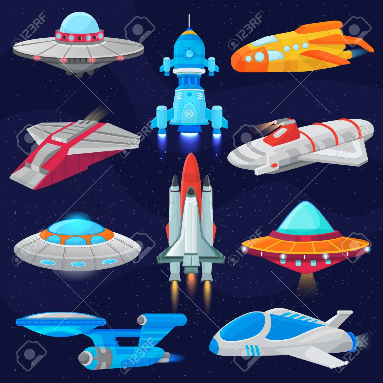 Rocket vector spaceship or spacecraft and spacy ufo illustration set of spaced ship or rocketship in universe space isolated on background - 98853955