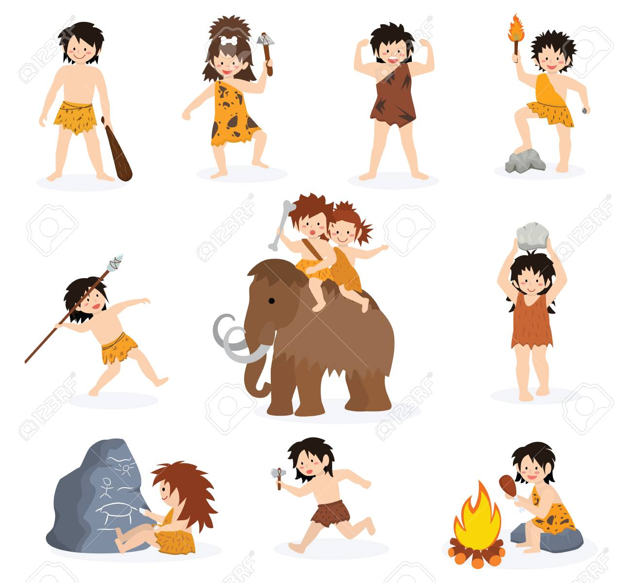 Caveman kids vector primitive children character and prehistoric child with stoned weapon on mammoth illustration. Set of ancient boy or girl in stone age isolated on white background. - 100976027