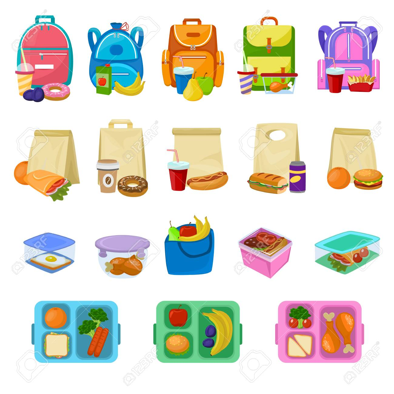 Lunch box vector school lunchbox with healthy food fruits or vegetables boxed in kids container illustration set of packed meal sausages or bread isolated on white background - 100957076