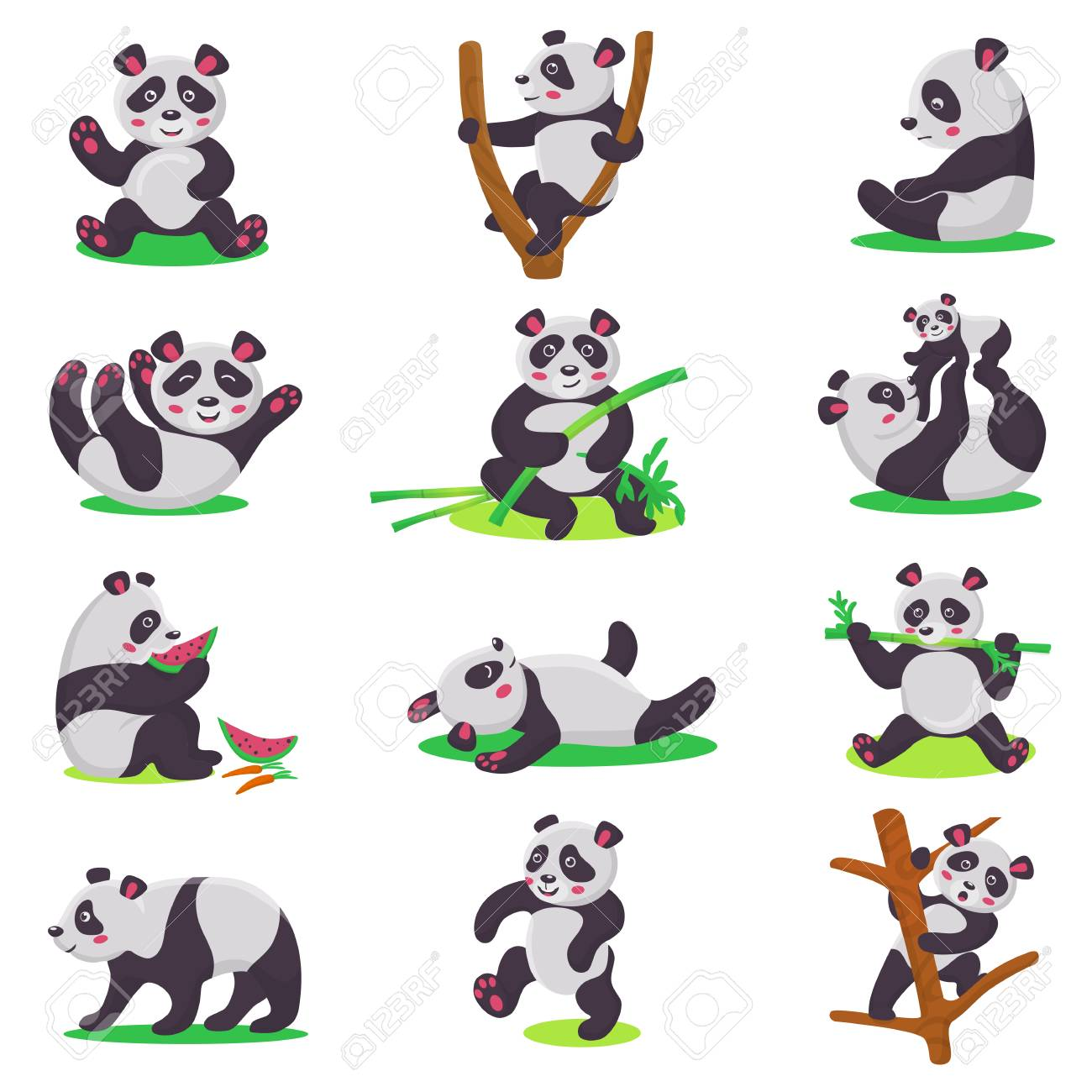 Panda kid vector bearcat character or chinese bear child playing or eating bamboo illustration set of cartoon giant panda isolated on white background - 100957082