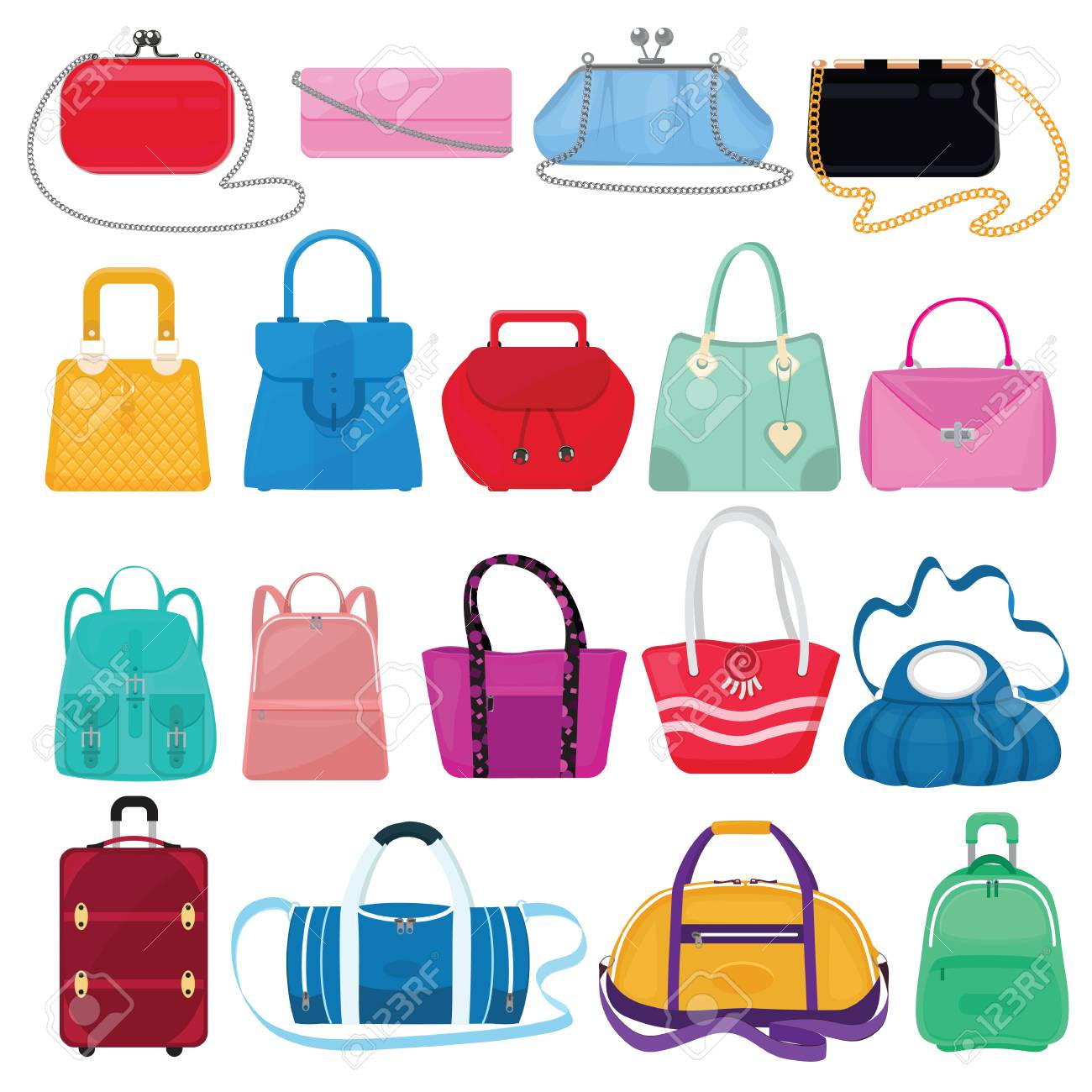 Vector - Woman bag vector girls handbag or purse and shopping-bag or clutch  from fashion store illustration baggy set of shoppers bagged package and ... 52db2b2c73