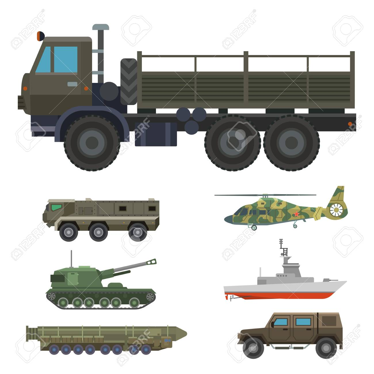Military transport vector vehicle technic army war tanks and industry armor defense transportation weapon illustration. - 102724288