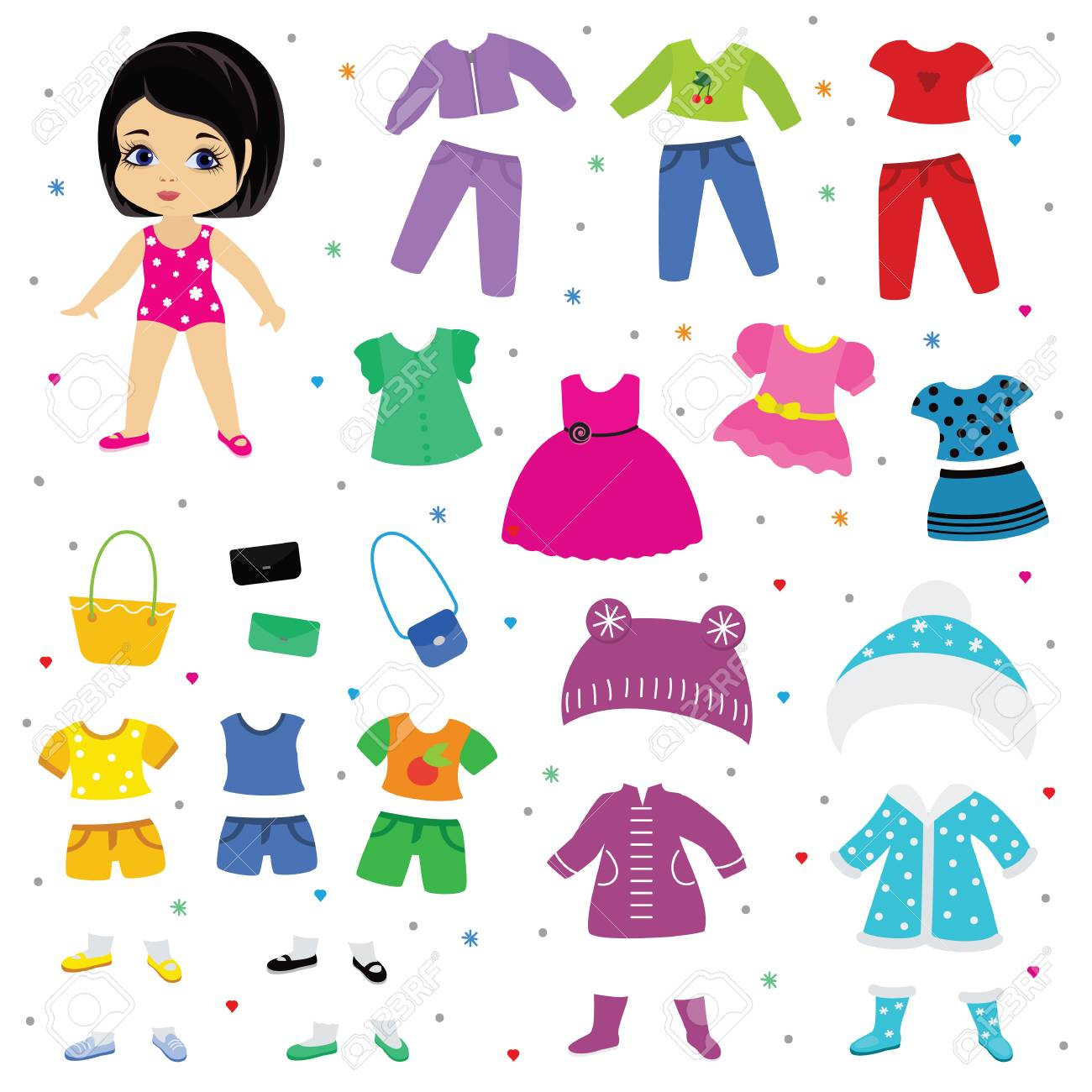 Paper doll vector dress up or clothing beautiful girl with fashion pants dresses or shoes illustration girlie set of female clothes for cutting hat or coat isolated on white background - 102864304