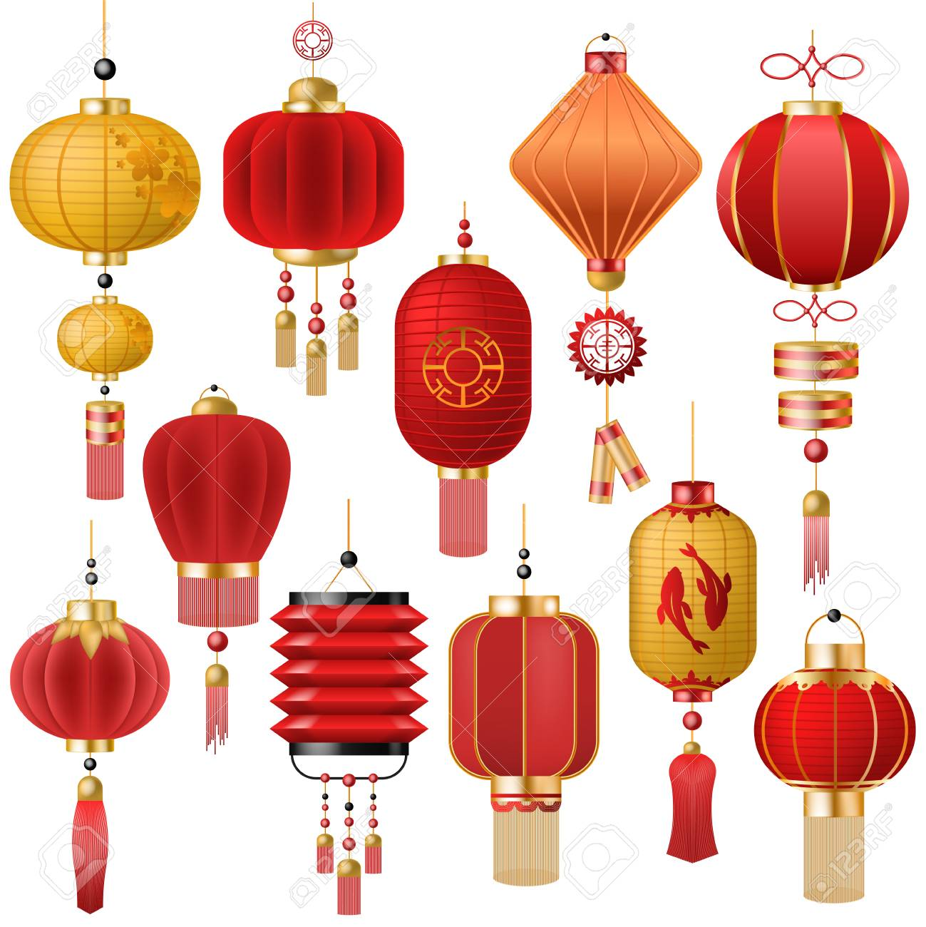 Chinese lantern vector traditional red lantern-light and oriental decoration of china culture for asian celebration illustration set of festival decor light isolated on white background - 102914097