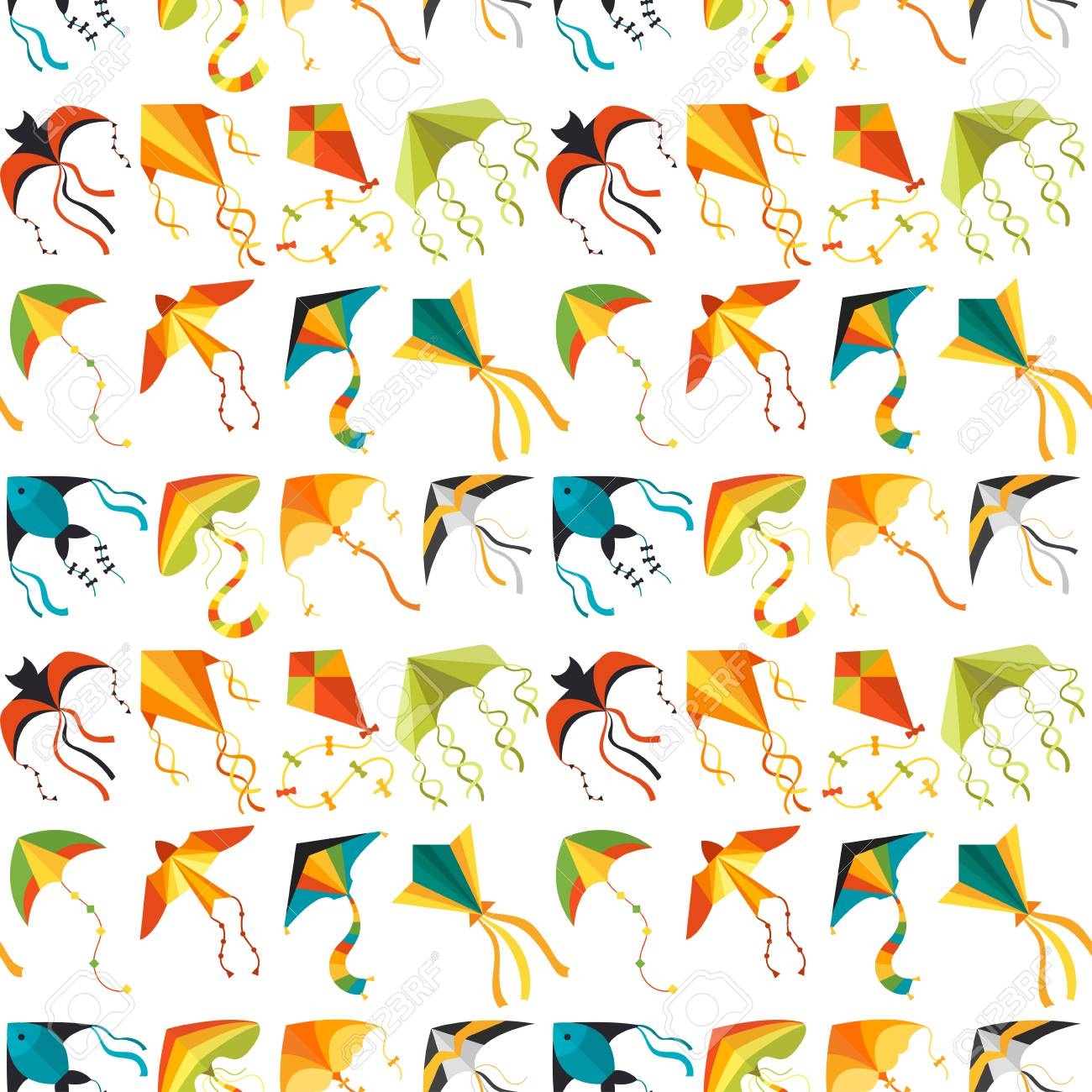 Flying kite snake serpent dragon kids toy colorful outdoor summer activity seamless pattern background vector illustration - 104219332