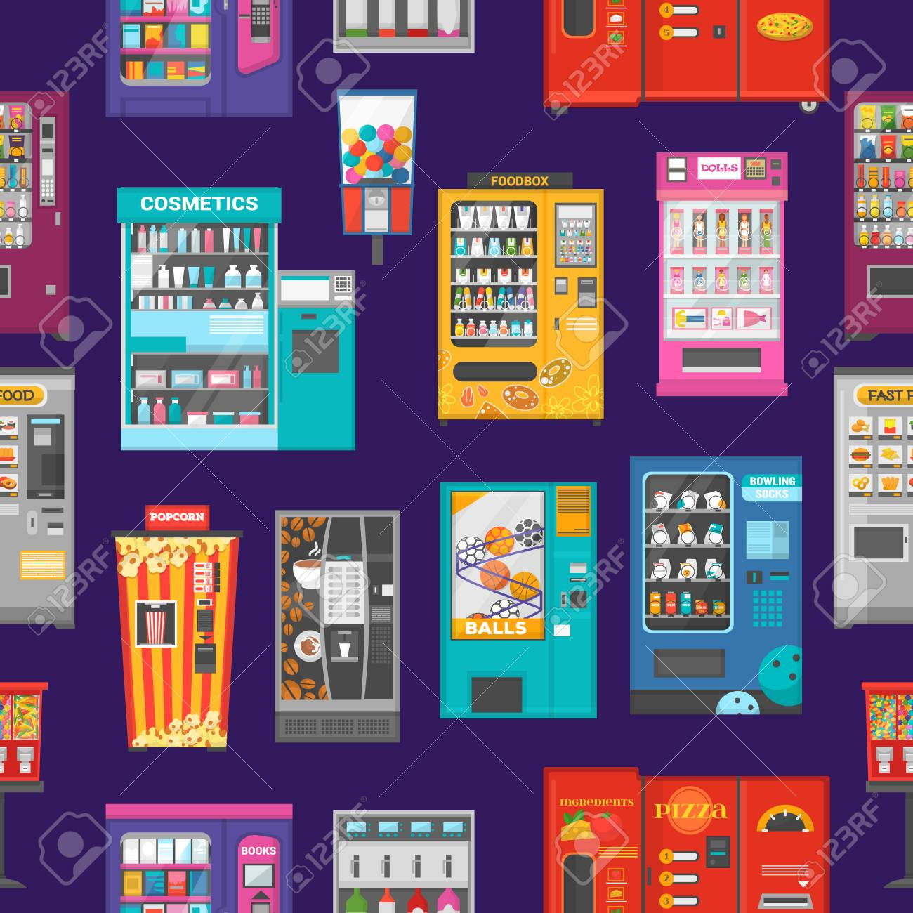 Vending machine vector vend food or beverages and vendor machinery technology to buy snack or drinks illustration set seamless pattern background. - 114881084