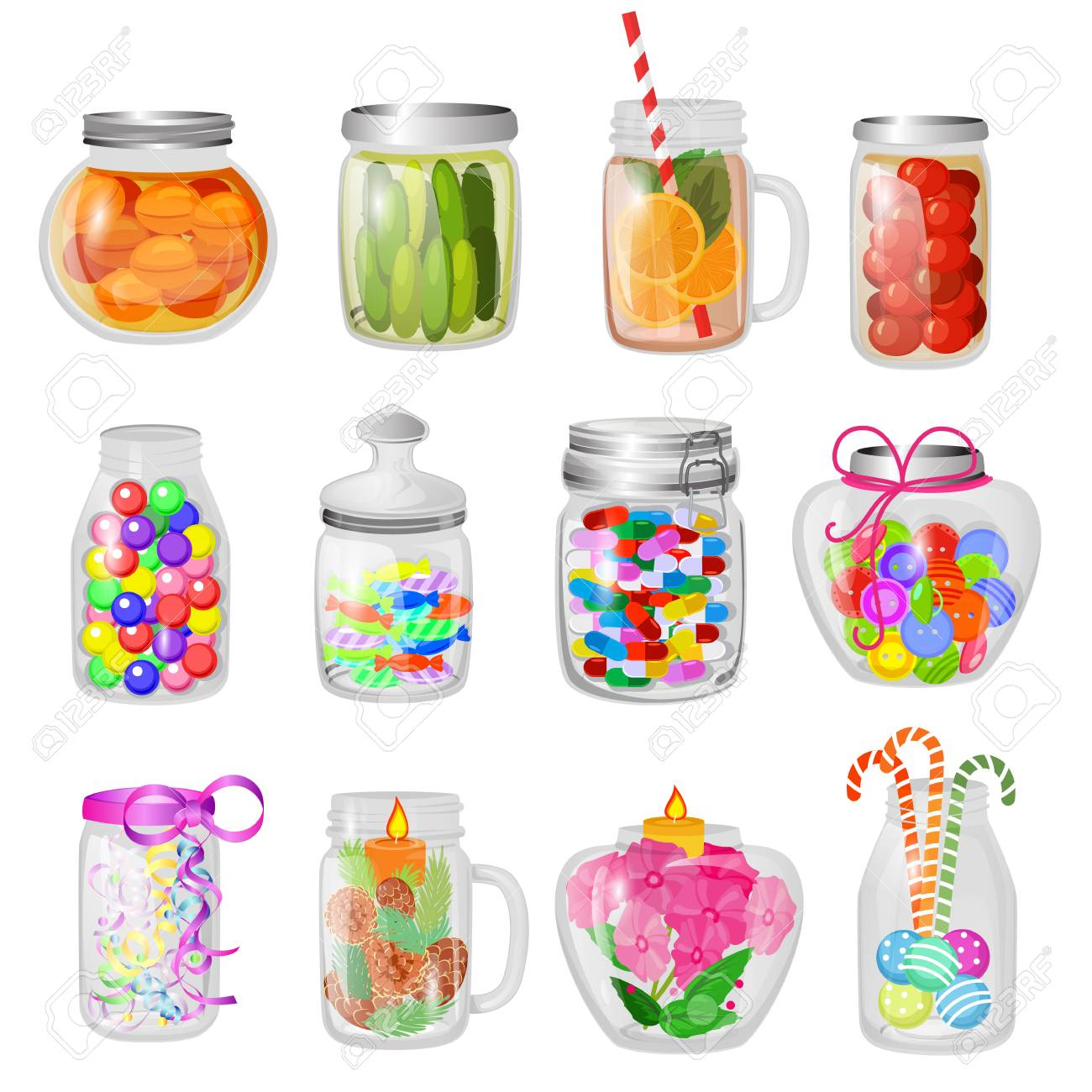 Glass jar vector jam or sweet jelly in mason glassware with lid or cover for canning and preserving illustration glassful set of cuppingglass with conservation isolated on white background. - 114784832