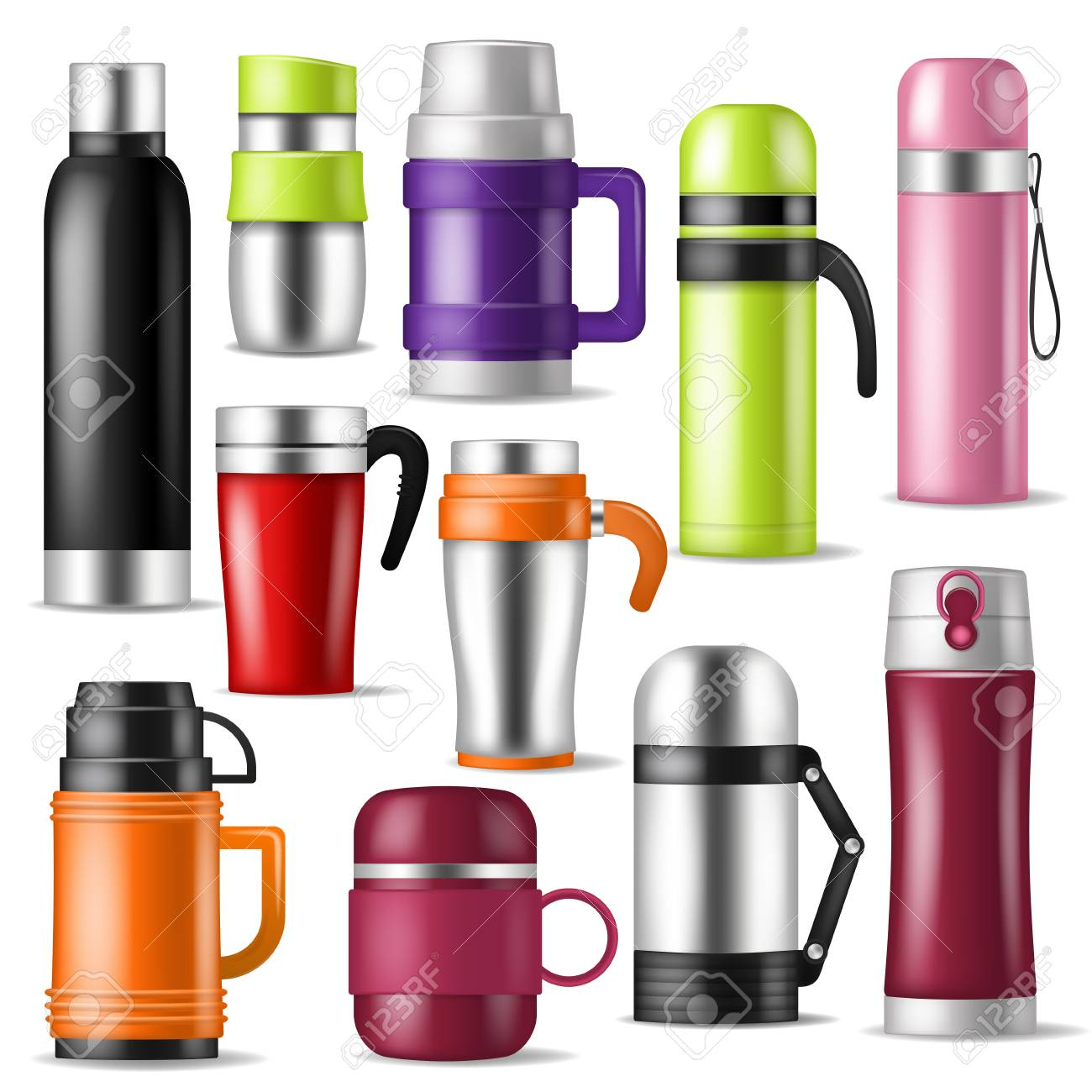vector vacuum flask or bottle with hot drink coffee or tea illustration set of metal bottled container or aluminum mug isolated on white background - 105415654
