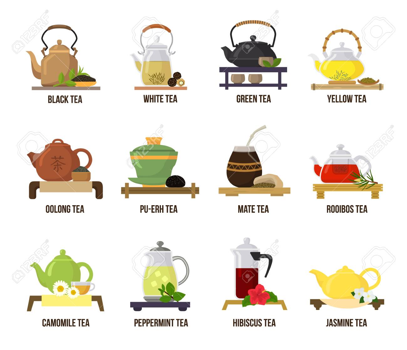 Tea vector green or black-tea in teapot illustration drinking set of jasmine and rooibos fruity drinks on teatime in cafe isolated on white background. - 112273661