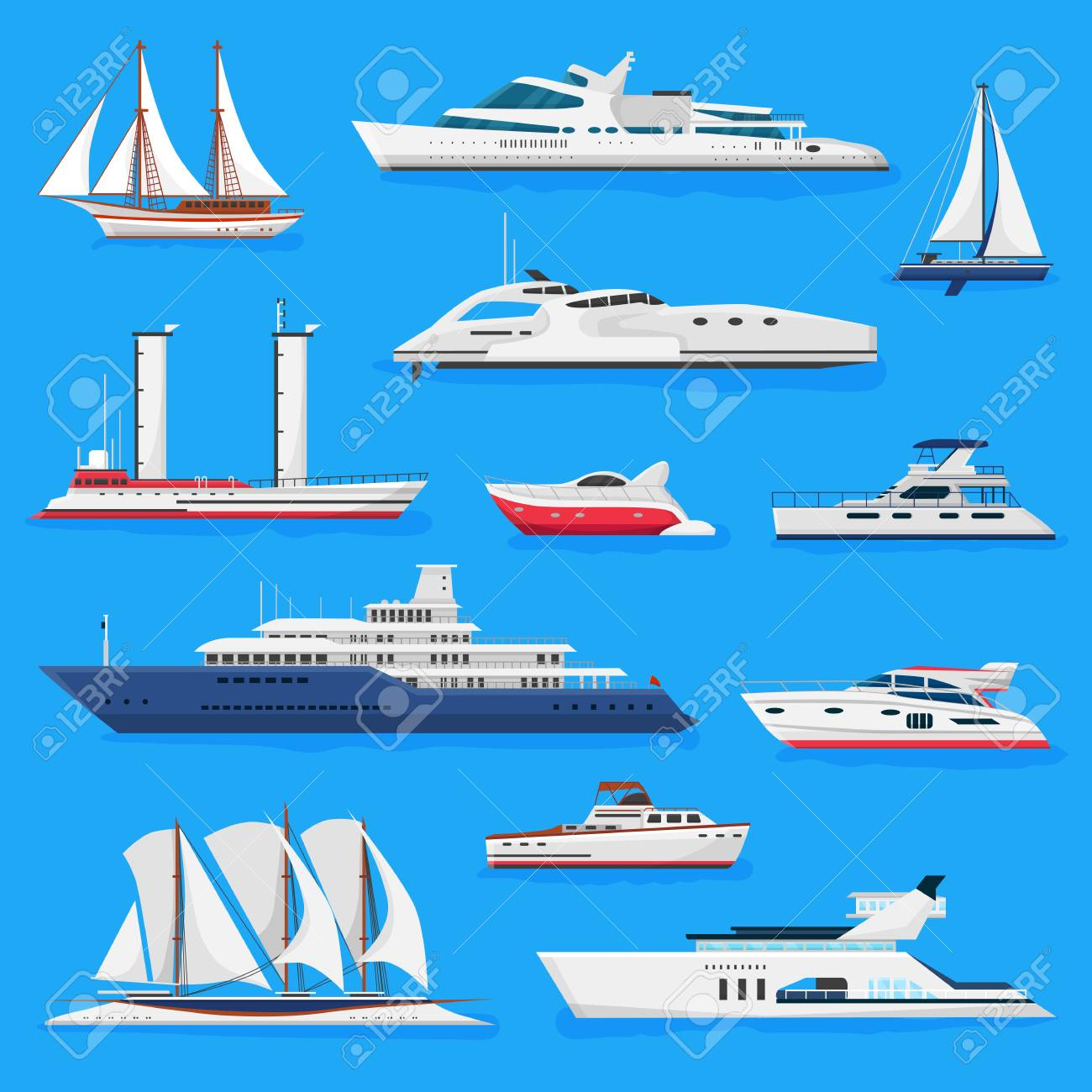 Ships vector boats or cruise travelling in ocean or sea and shipping transportation illustration marine set of nautical sailboat yachting or speedboat isolated on background. - 112223811
