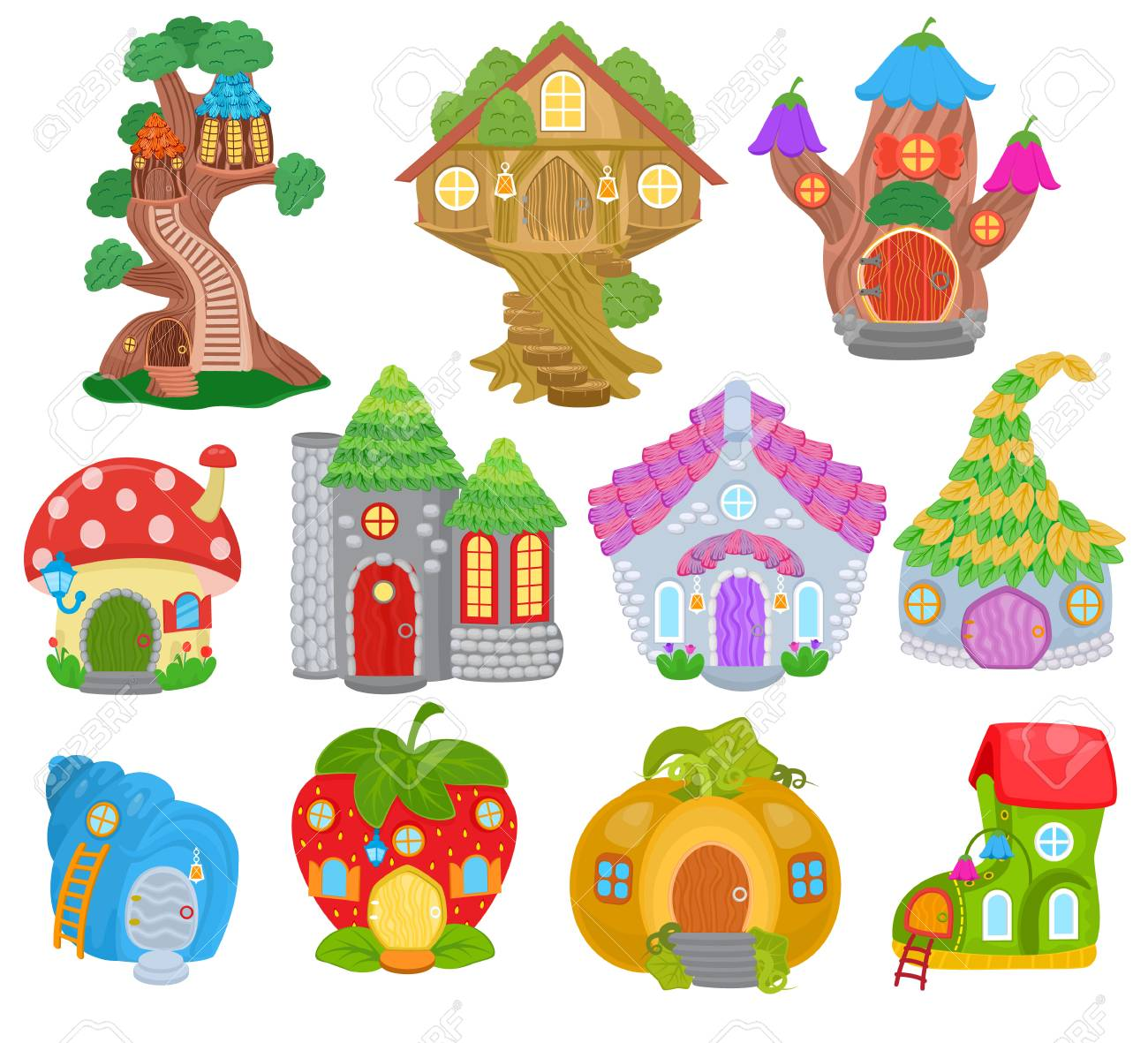 Fantasy house vector cartoon fairy treehouse and magic housing village illustration set of kids fairytale pumpkin or strawberry playhouse for gnome isolated on white background - 107165707