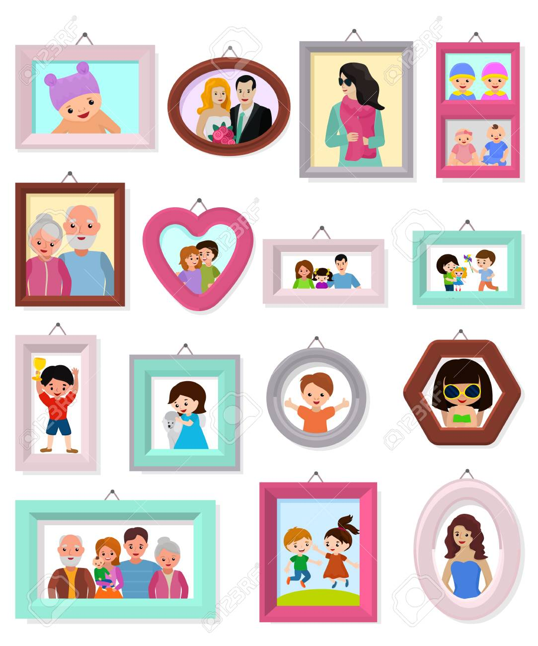 Vector Black And White Retro Vintage Border Photo Frame Of Hearts.. Royalty  Free Cliparts, Vectors, And Stock Illustration. Image 114558049.